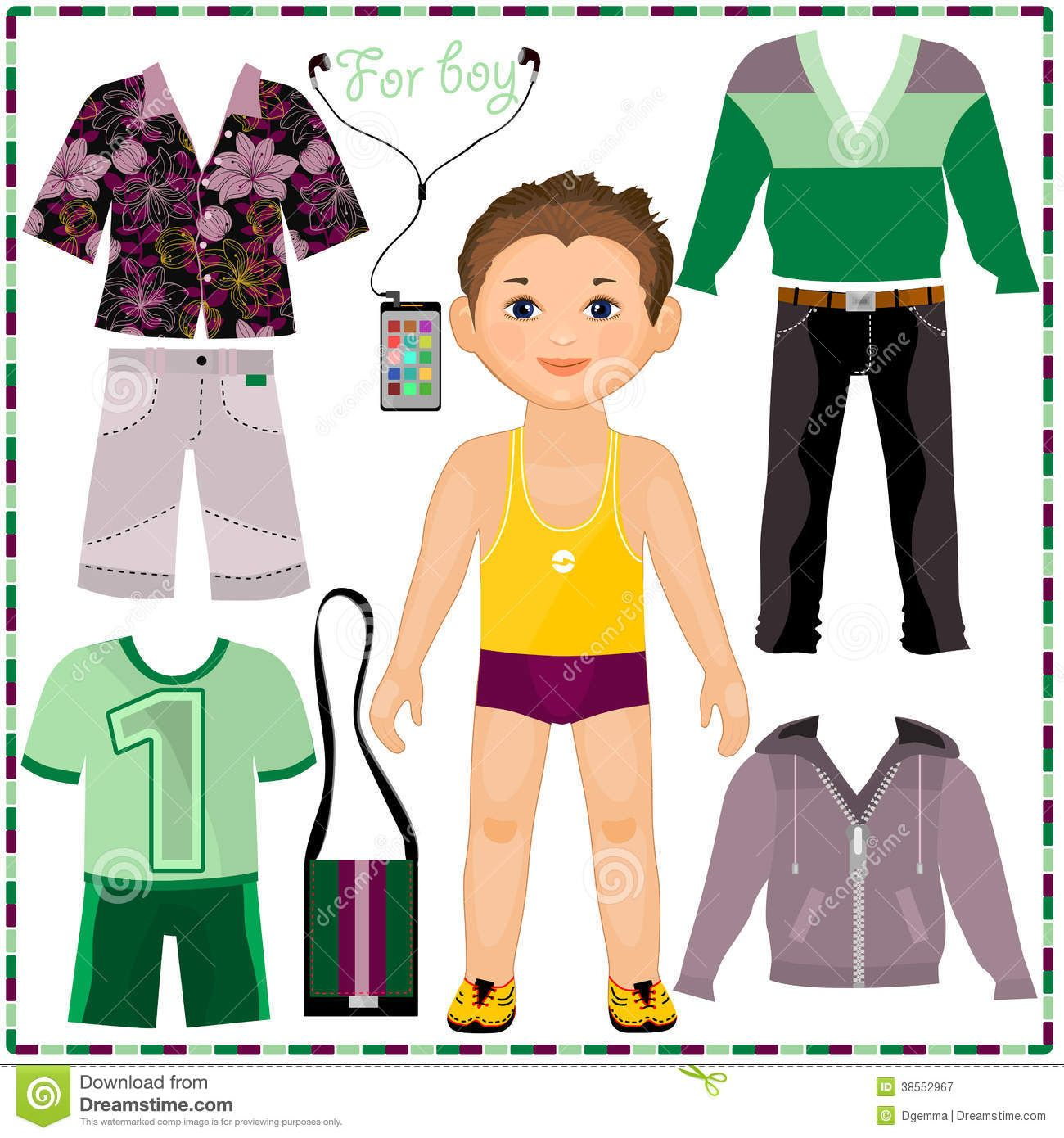 Paper Doll With A Set Of Fashionable Clothing