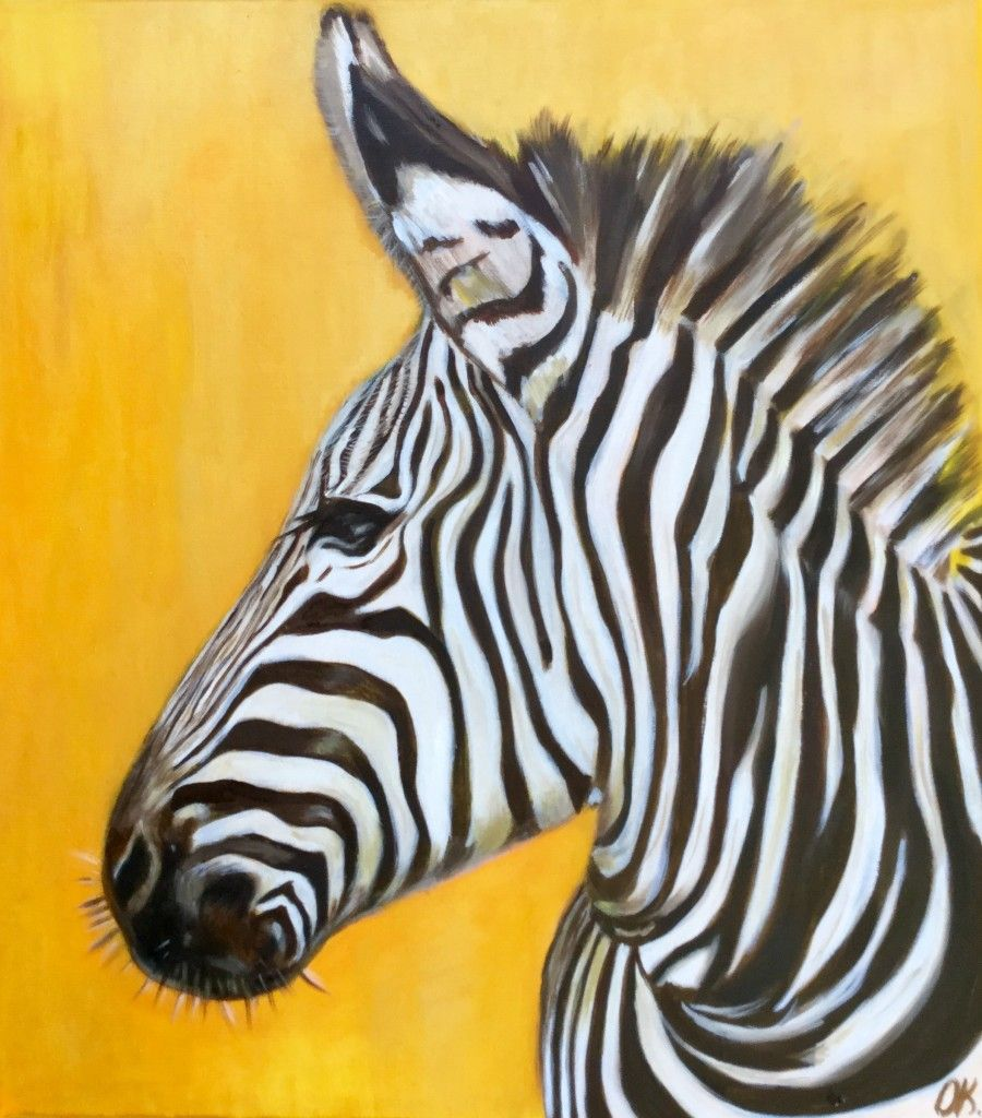 African zebra on the goldfields by Olga Koval African zebra on the ...