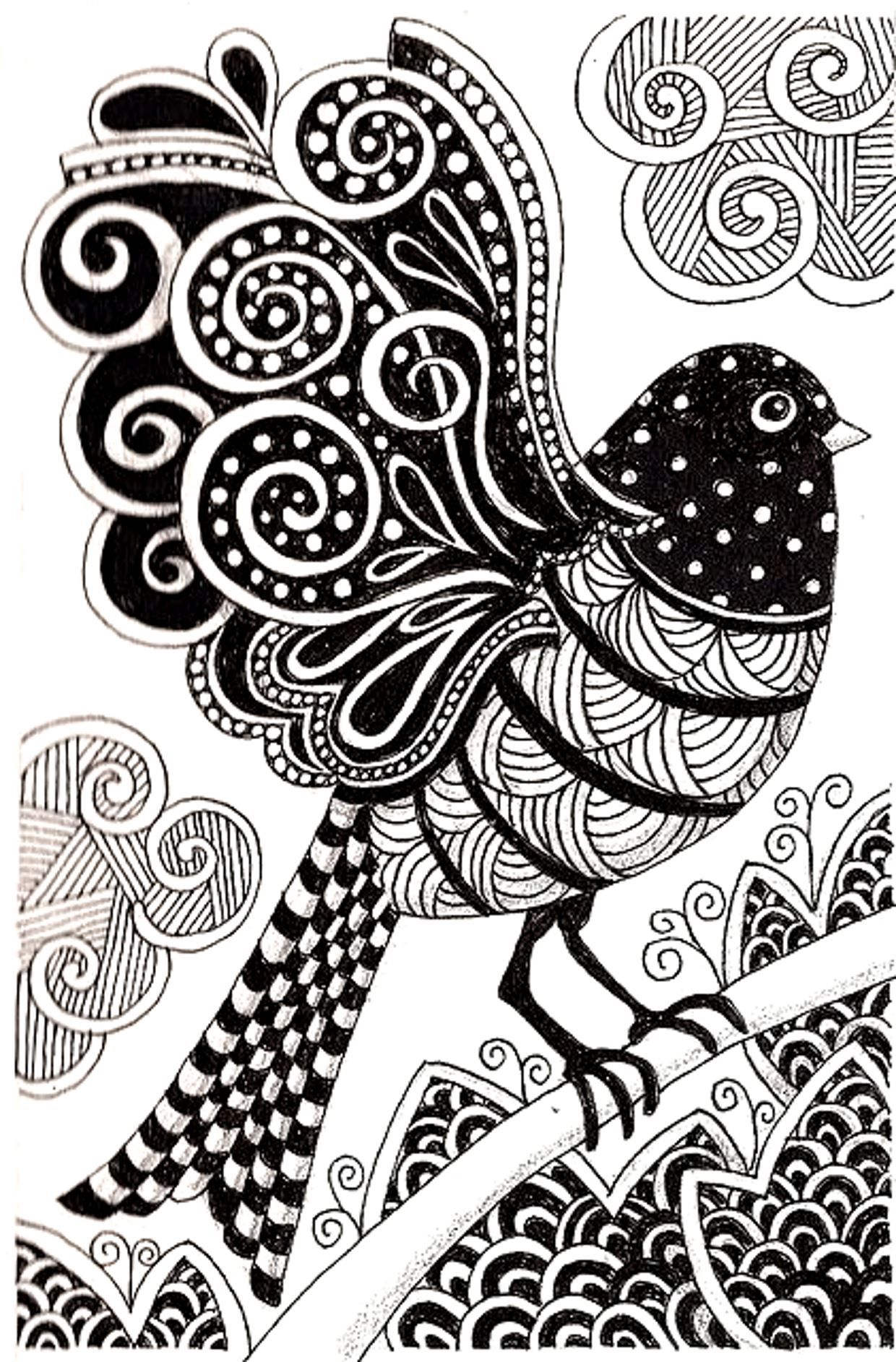 Página gratis para colorear colorear-adulto-dark-pájaro. Dibujo del ...