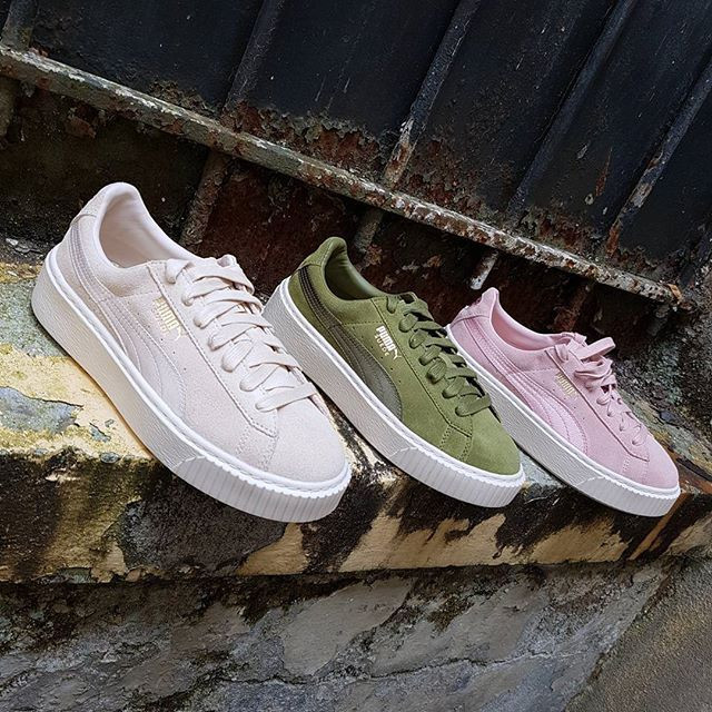 puma basket green suede