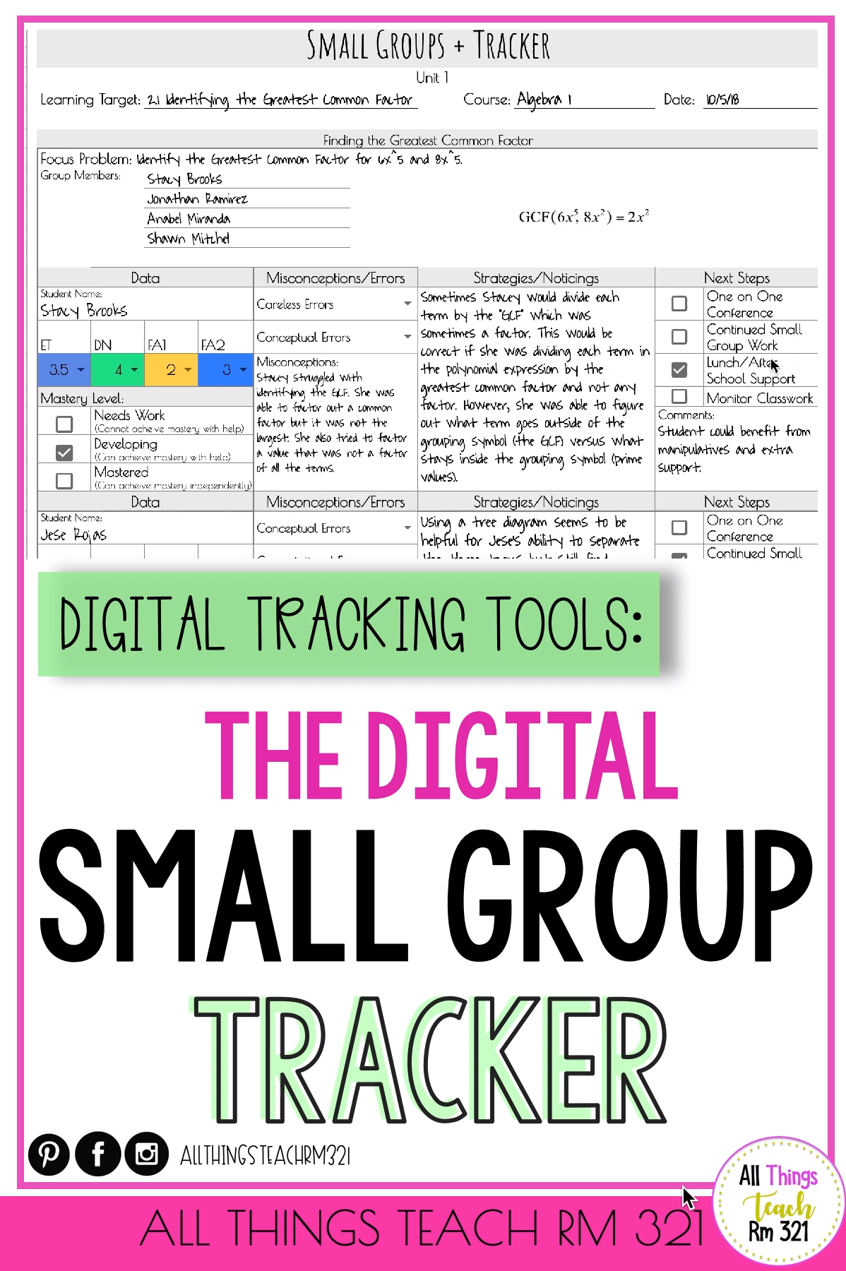 This product is a DIGITAL Small Group Tracker that can be used for ALL your small group conferencing needs! Not only is it digital, but it can be used for ANY class and ANY grade! It also supports up to 10 units and 20 lessons per unit. So you don't have to make copies every time you run out.