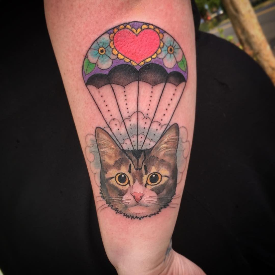 Parachuting Kitty Head Tattoo Head Tattoos Cat Tattoo Portland Tattoo