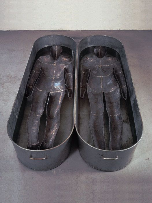 "Antony Gormley [UK] (b 1950) ~ ""CHROMOSOME"", 1984. Lead, zinc and water (46 x 200 x 120 cm). 