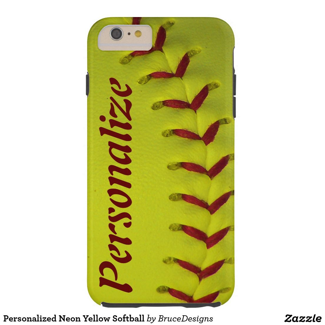 Personalized Neon Yellow Softball Barely There iPhone 6 Case