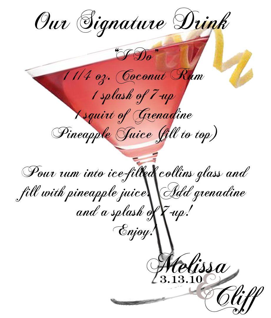 Signature Drinks Wedding signature drinks, Wedding