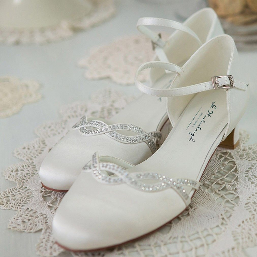 Chaussure mariage ivoire en satin à bout rond talon 4 cm - Annie -  Westerleigh fa315dc3110