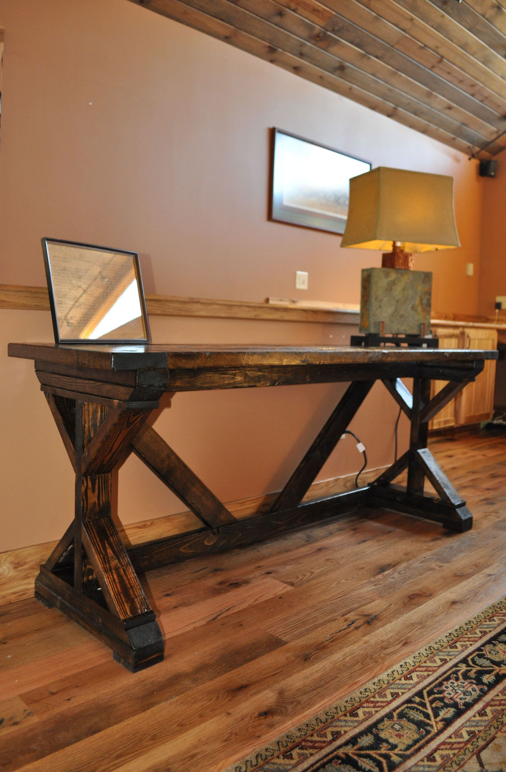 Ana White Fancy X Desk With Breadboard Top Diy Projects Farmhouse Table Plans Woodworking Furniture Farmhouse Table
