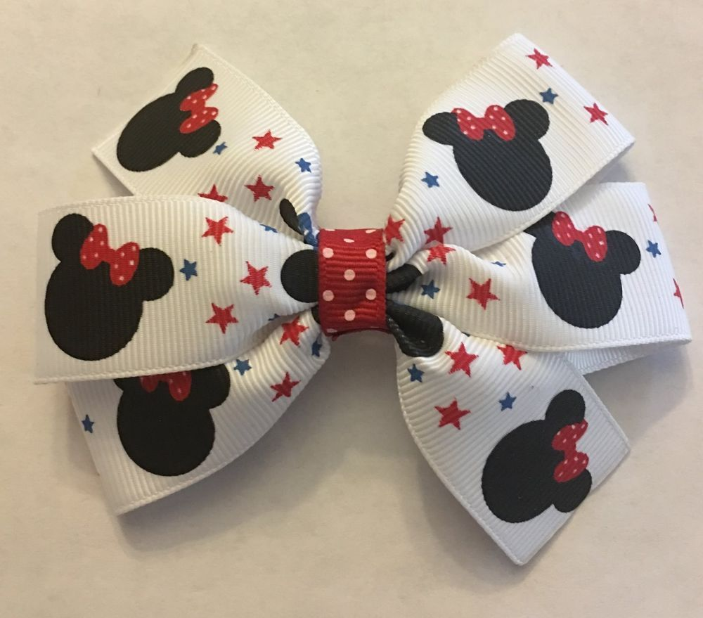 Fourth Of July Minnie Mouse Inspired Girls Hair Bow th of July