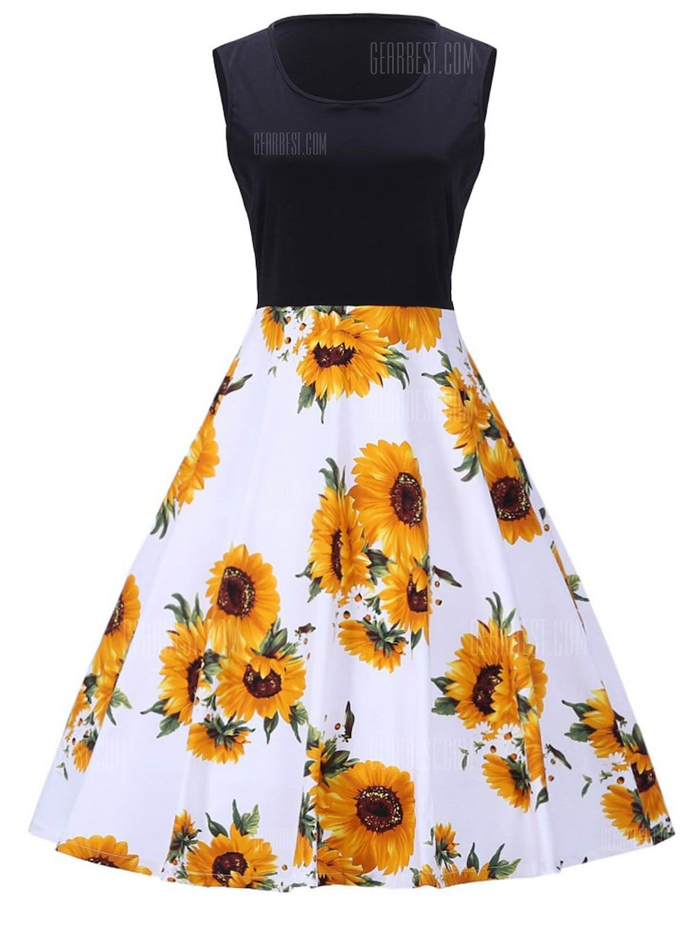 Only 34 15 Buy Sunflower Print Vintage Sleeveless Dress At Gearbest Store With Free Shipping Fashion Pretty Dresses Sunflower Dress [ 1330 x 1000 Pixel ]