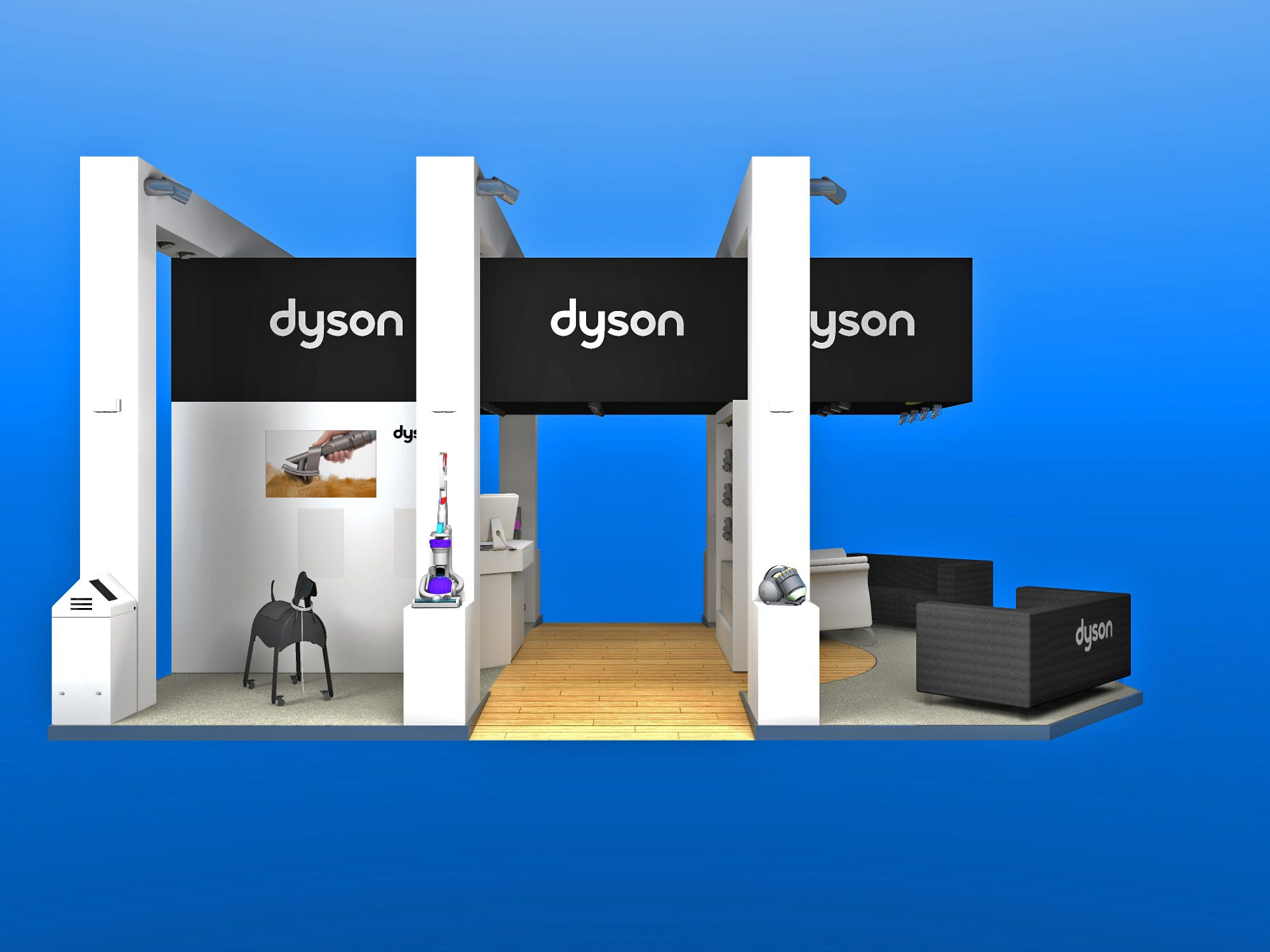 Freelance Exhibition Stand Design : Dyson exhibition stand for the crufts dog show modelled