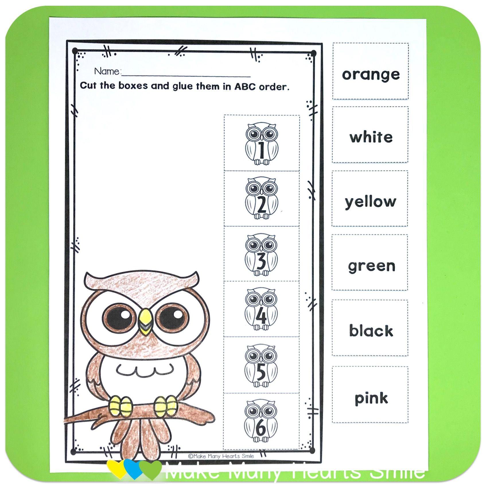 Editable Abc Order Owls Mmhs43