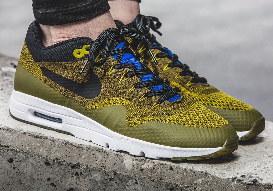 Details about Mens NIKE AIR MAX 1 ULTRA FLYKNIT Olive Trainers 843384 300