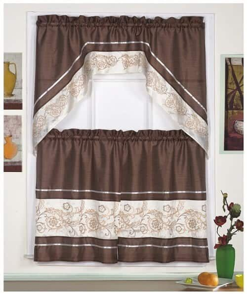 Coffee Themed Kitchen Curtains Coffee Curtain With Embroidered Gold Review Cafe Curtains Kitchen Design Decor Curtains