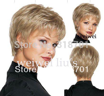 여성 좋은 짧은 자연 스트레이트 가발 세련된 레이디 금발 합성 머리 가발 무료 배송