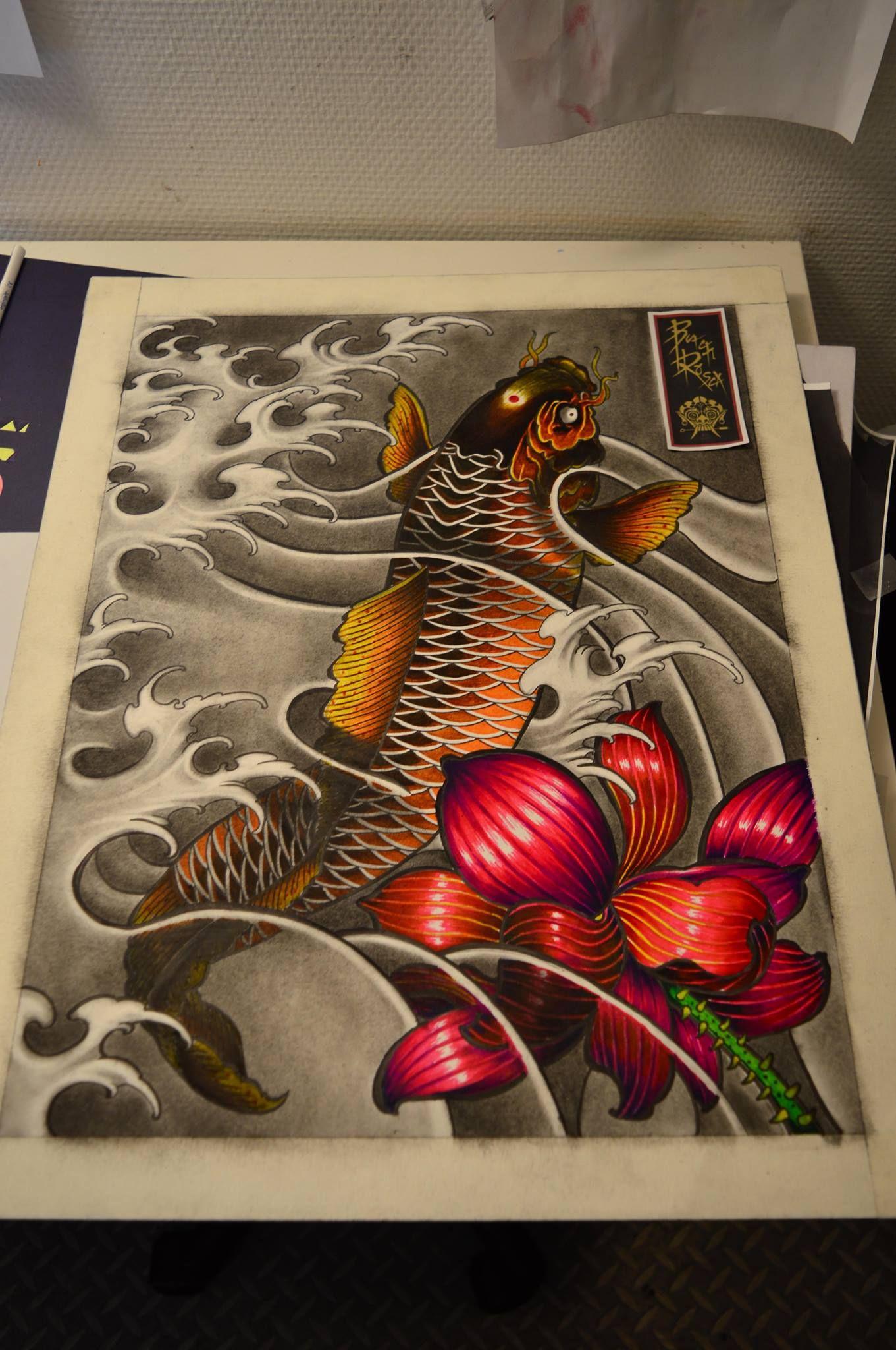 Japanese koi fish, lotus and water waves\