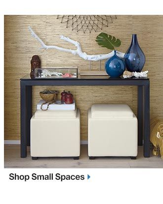Console Table With 2 Storage Ottomans Underneath