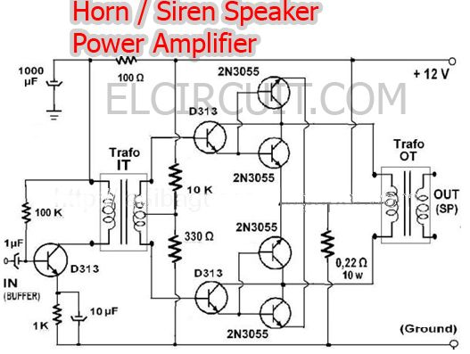 Power Amplifier For Horn Speaker In 2018 Audio Schematic