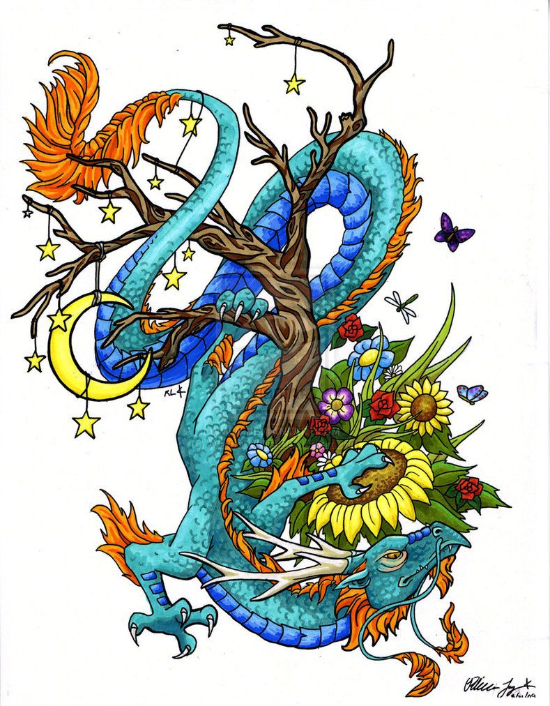 Dragon Tattoo With Flowers: Oriental Dragon Tattoos Image