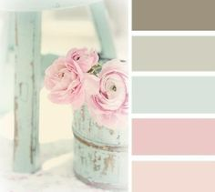Home design color schemes: Pink, Turquise and Ice Grey from The Drawing Room South blog