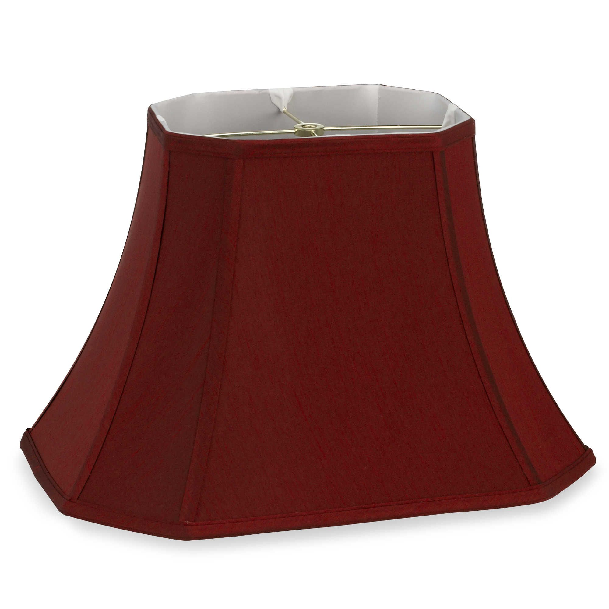 Mix Match Large 18 Inch Shantung Cut Corner Rectangular Lamp Shade In Burgundy