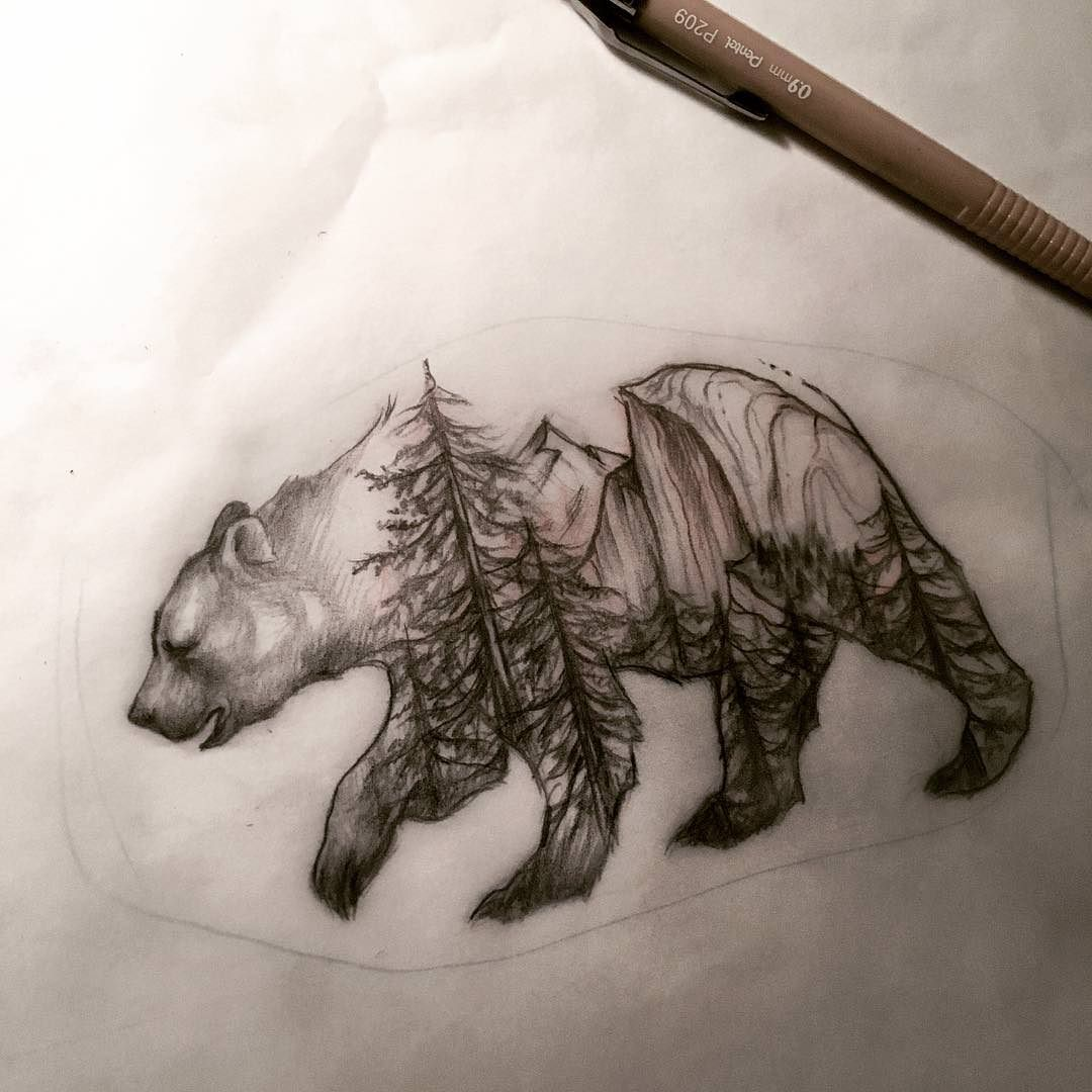 Yosemite bear by Jane Cho Outer Limits Tattoo here in Costa Mesa