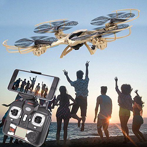 Qsmily Golden MJX X401H Wifi FPV Quadcopter 24Ghz 6axis Gyro RC Drone With 03MP HD Camera with Dual Mode Altitude Hold 3D Flip Helicopter RTF >>> Check this awesome product by going to the link at the image.