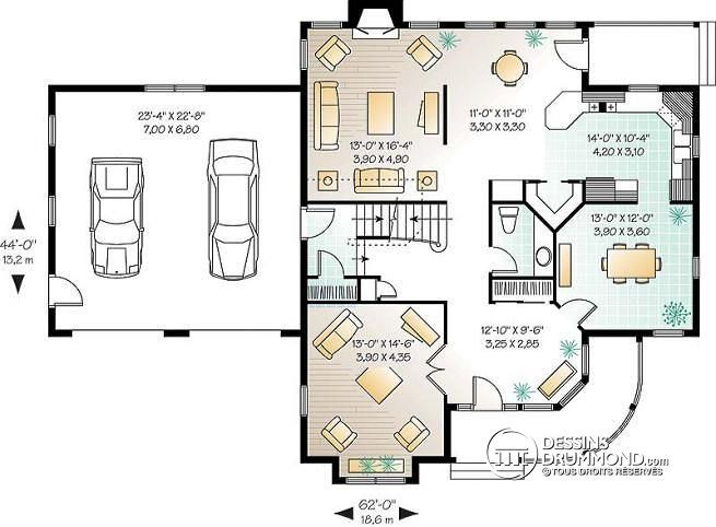 W3814 - Plan de maison victorienne, 3 à 4 chambres, salon et salle