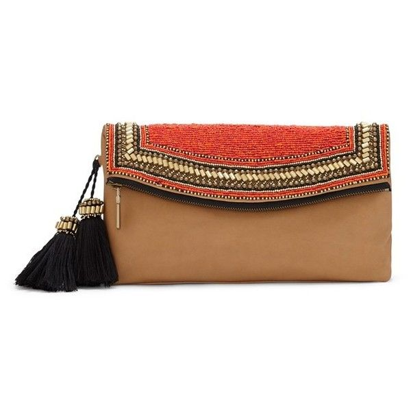 Vince Camuto 'Bessy' Beaded Leather Clutch ($137) ❤ liked on Polyvore featuring bags, handbags, clutches, genuine leather purse, pocket purse, leather handbags, beaded purse and fold over purse