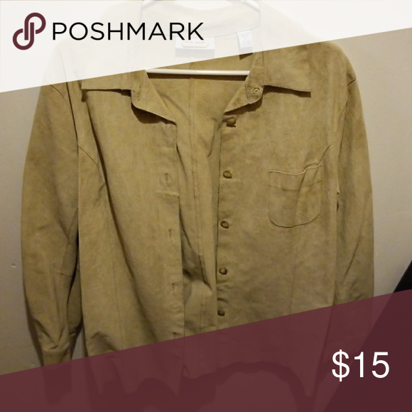 100% leather top Looks like suede Marsh Landing Tops Button Down Shirts