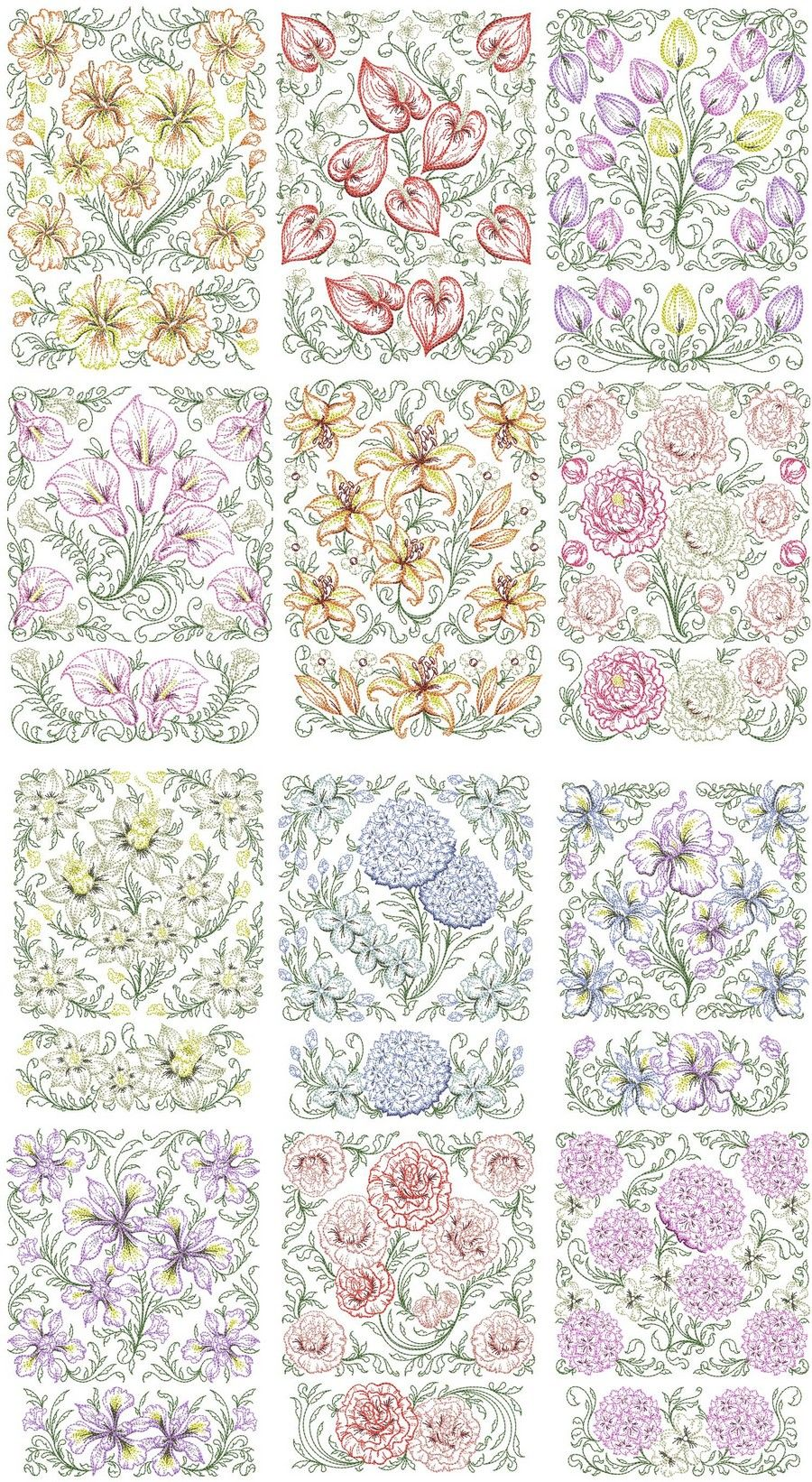 Timeless spring quilt set machine embroidery designs by sew swell