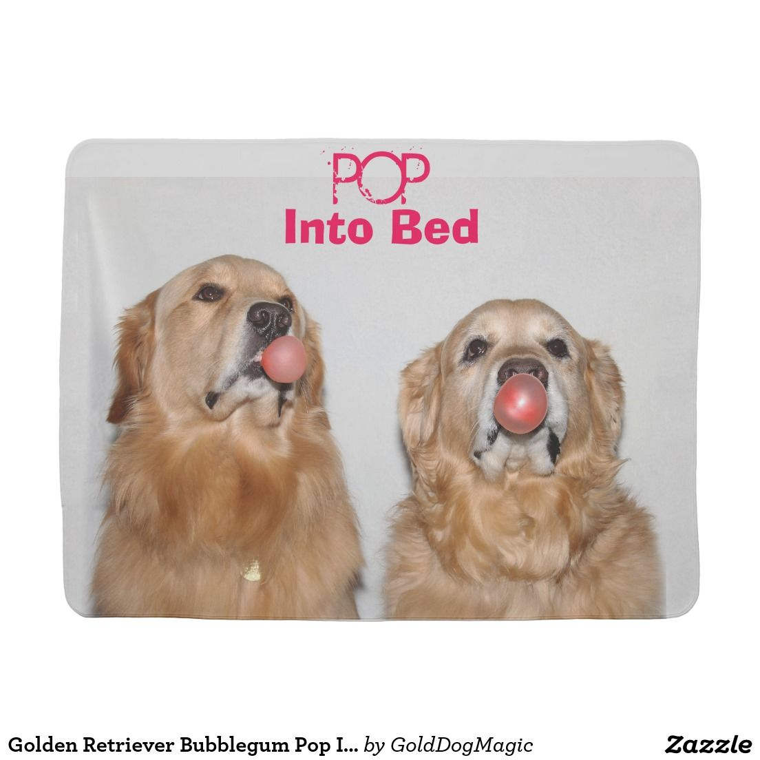 Golden Retriever Bubblegum Pop Into Bed Stroller Blanket
