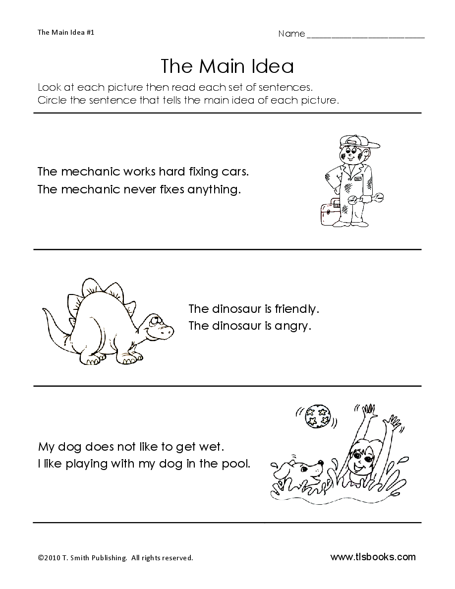 Main Idea Worksheet-- good site with worksheets by grade level ...