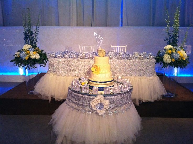 Royal Blue And Silver Fairytale Table Skirt Google Search Silver Wedding Decorations Wedding Cake Table Wedding Reception Head Table