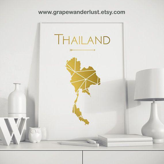 Thailande Imprimer Thailande Art Thailande Carte Thailande Etsy Thailand Art Usa Art Travel Art Print