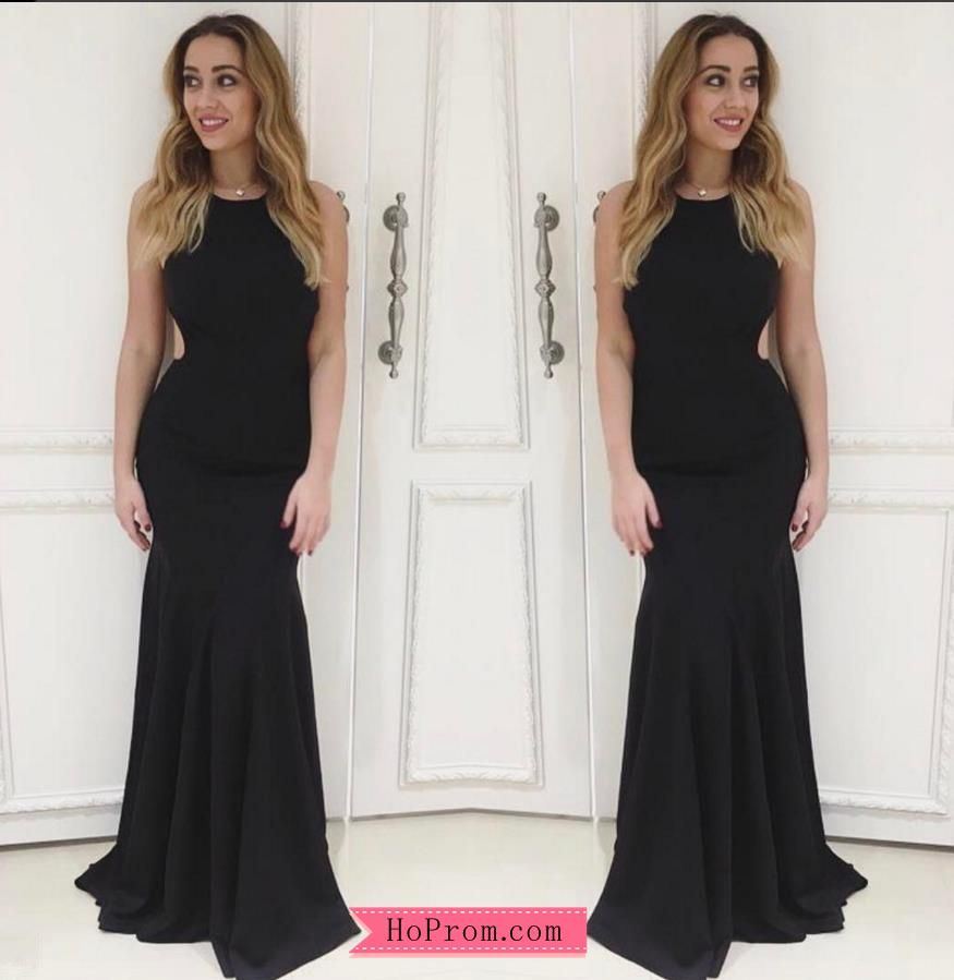 Simple Black Fitted Open Back Prom Dresses Black Prom Dresses Dresses Halter Prom Dresses [ 899 x 875 Pixel ]