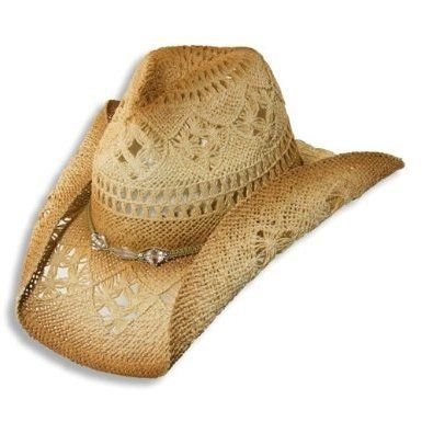 a8dc77f433 Amazon.com  Western Cowgirl Hat with Glass Beads by Dorfman Pacific   Clothing
