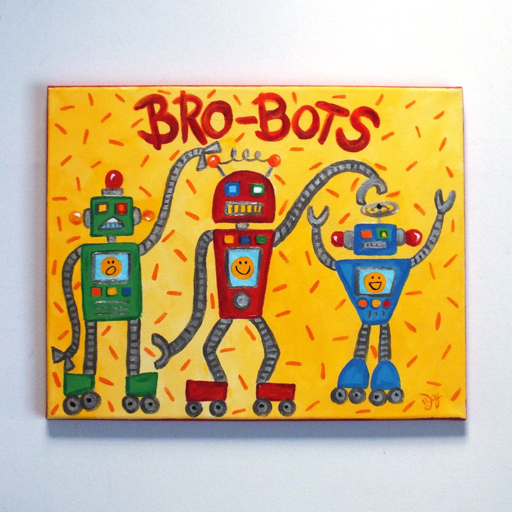 Wall Art for Kids, 3 Brothers, BROBOTS, 11x14 Canvas, Robot Art for ...
