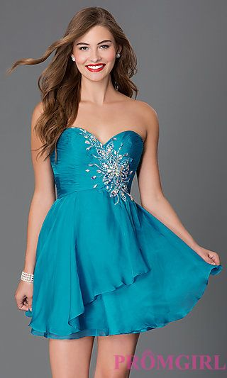 Jewel Embellished Short Strapless Sweetheart Alyce Dress at PromGirl.com
