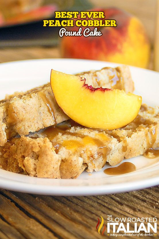 Peach Cobbler Pound Cake has all the flavor of your favorite cobbler, in a moist delicious pound cake!  Vanilla, nutmeg and cinnamon combine with a touch of almond to really bring the flavor home.  Sugared pans, in lieu of floured help to create a fantastic crisp crust, the perfect touch to this melt in your mouth moist pound cake! #peachcobblerpoundcake