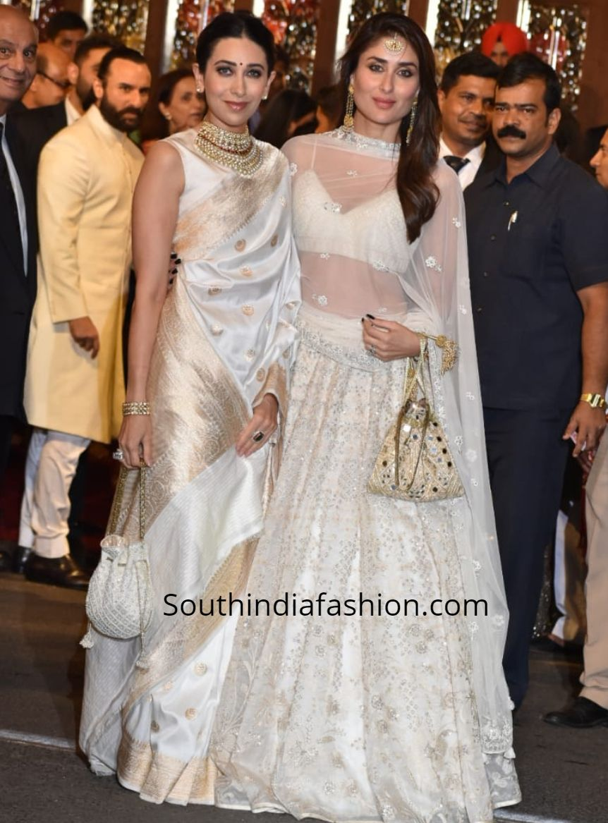 Kareena Kapoor In A White Lehenga At Isha Ambani Anand Piramal Wedding South India Fashion Traditional Indian Outfits Indian Wedding Wear Indian Designer Outfits