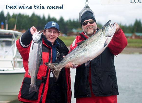Dad wins this round! Father and son share a guided fishing experience in Haida Gwaii. http://www.peregrinelodge.com/blog.php?p=201
