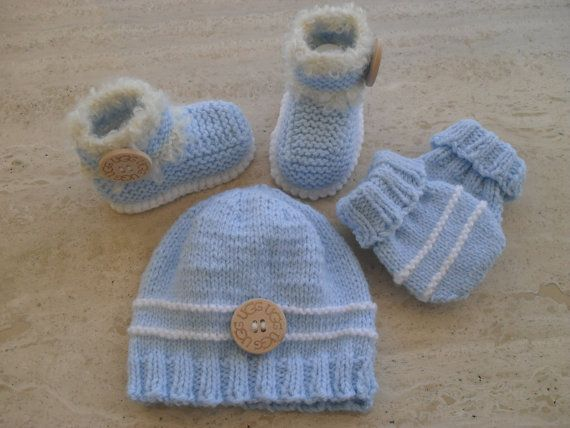 Bear Hat, Baby Booties and Baby Mittens Set