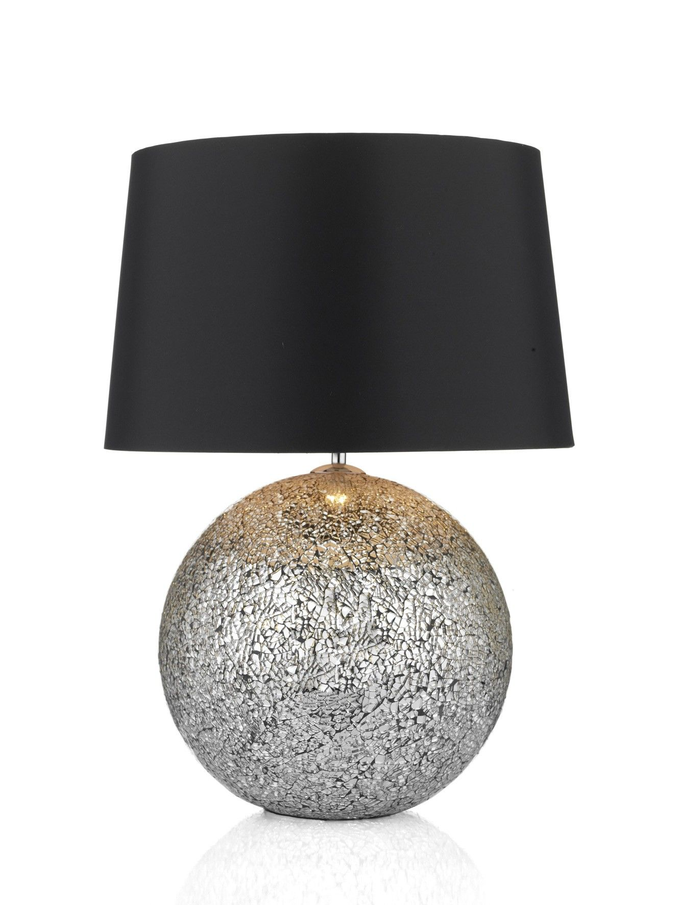 Dar Lighting Glitter Ball Table Lamp Medium Complete With Black Shade Table Lamp Large Table Lamps Black Table Lamps