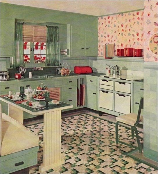50s Green Kitchen @ Living Vintage   Such Happy Color! Kitchens Now Are  Usually So