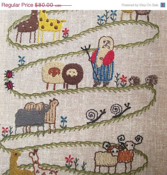 Spring Sale vintage crewel embroidery wall by RecycleBuyVintage