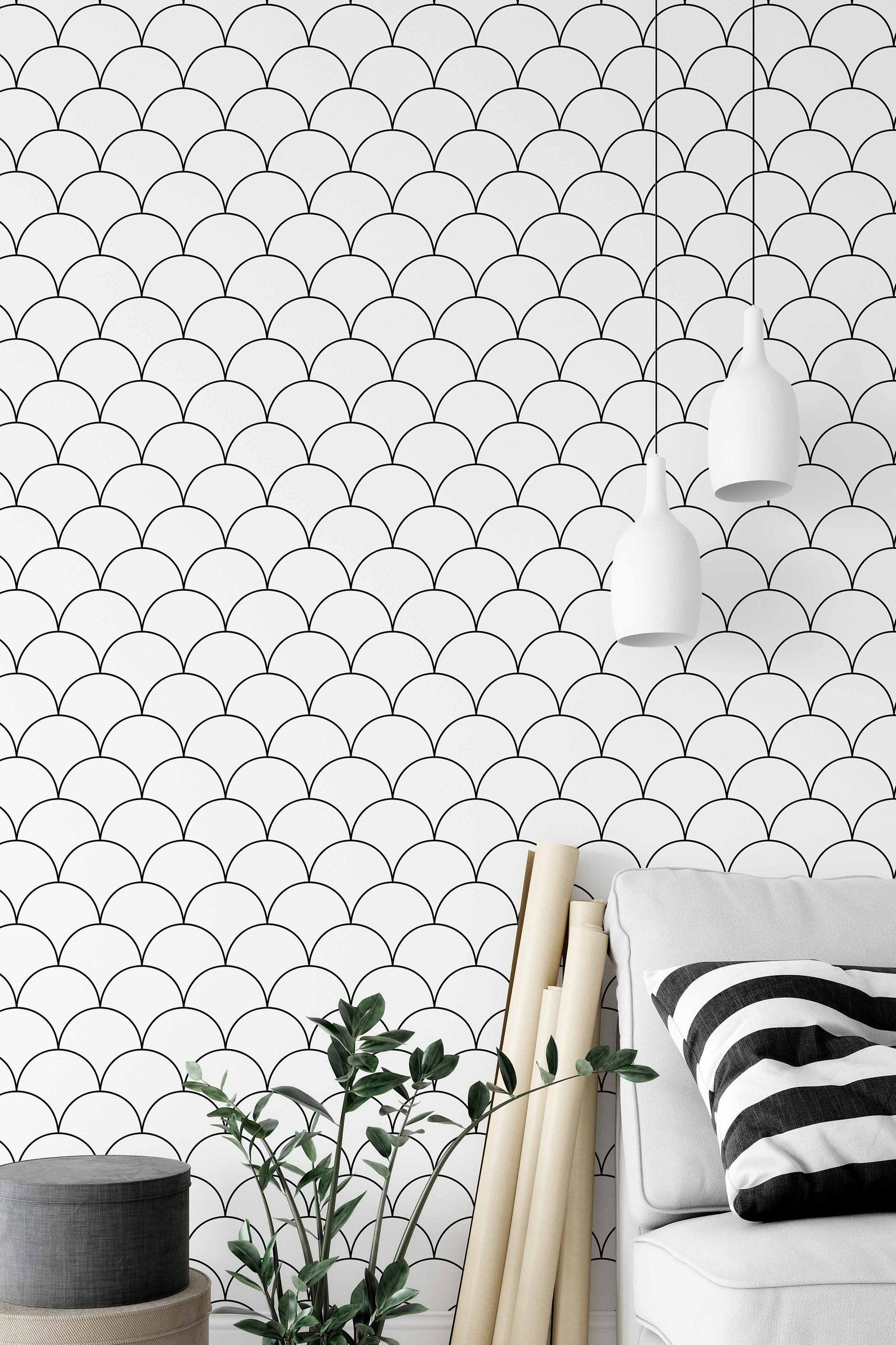 Wallpaper With Scallop Pattern Black And White Removable Etsy Removable Wallpaper Scandinavian Wallpaper Minimalist Pattern