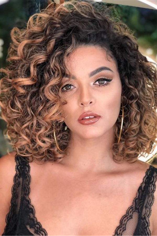 Shaggy Medium Synthetic Curly Hair Capless African American ...