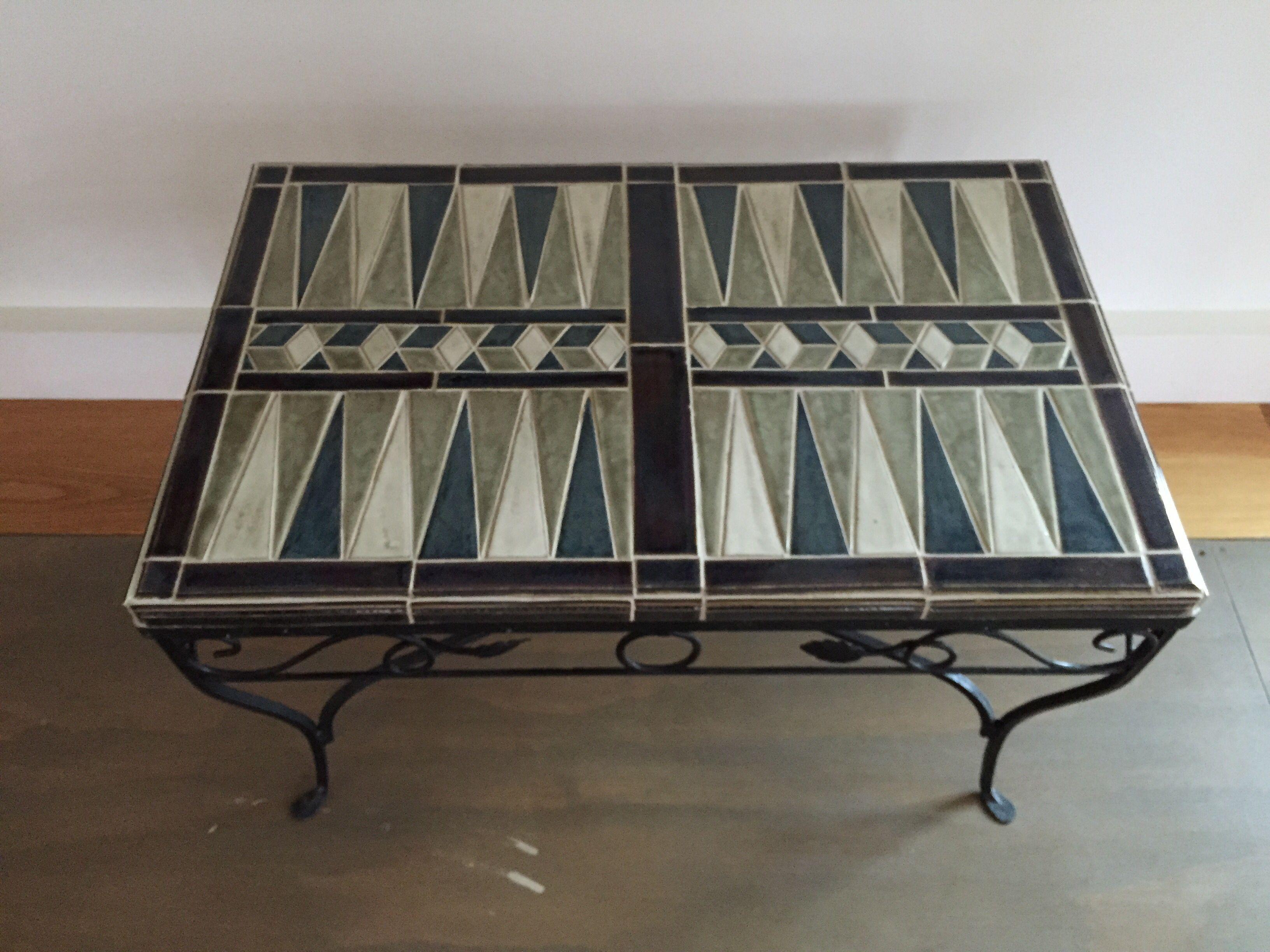 Handmade Ceramic Tile Backgammon Table