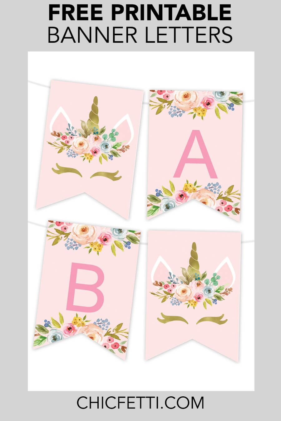 photo regarding Printable Banners named Unicorn Floral Printable Banner No cost Printables - No cost