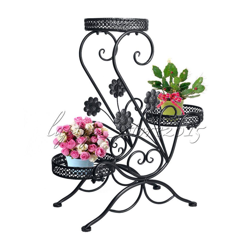 b31a3839287e 3 TIER Black Wrought Iron Floor-Standing Pot Plant Stand Balcony Flower  Planter